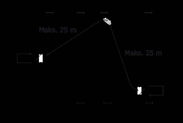 Figur 28. Højst 25 meter afstand til flugtveje ved brandcelle med mere end 50 personer.