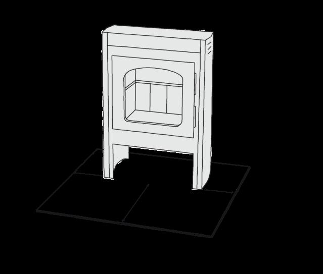 Figur 58. Krav om afstande til brændbart materiale omkring lukkede fyringsanlæg, som her en brændeovn: 150 millimeter til hver side og 300 millimeter foran.