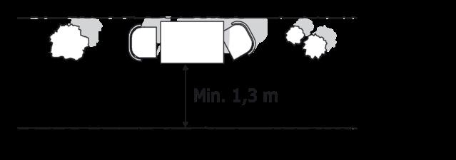 Figur 29. Den fri bredde på 1,3 meter i flugtveje skal opretholdes, selv om der placeres møbler i flugtvejen.