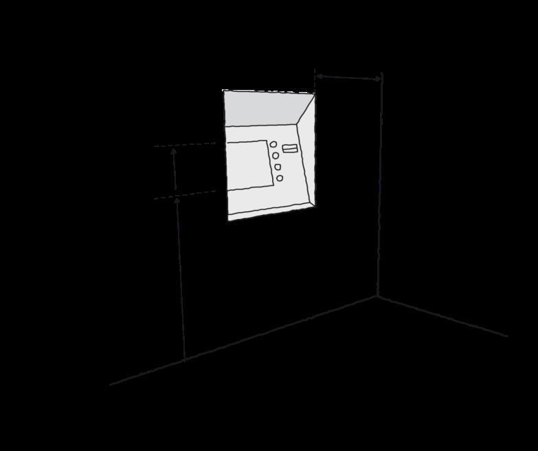 Figur 24. Afstande og arealer ved indretning af brugerbetjente anlæg, som her en pengeautomat. Placering af betjeningspanel i højde på mellem 0,9 0g 1,20 meter og med afstand til indvendigt hjørne på 0,5 meter. Vandret areal foran automat mindst 1,3 gange 1,3 meter.